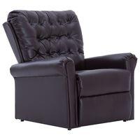 vidaXL Fotel rozkładany, brązowy, sztuczna skóra