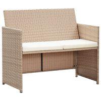 vidaXL 2-osobowa sofa ogrodowa z poduszkami, polirattan, beżowa