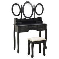 vidaXL Toaletka z taboretem i składanym, 3 częściowym lustrem, czarna
