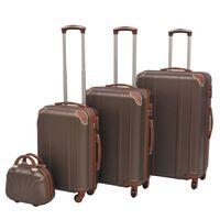 vidaXL Zestaw walizek na kółkach w kolorze kawy, 4 szt.