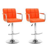 vidaXL Stołki barowe, 2 szt., pomarańczowe, sztuczna skóra