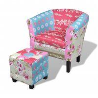 vidaXL Fotel z podnóżkiem, patchworkowy, tkanina