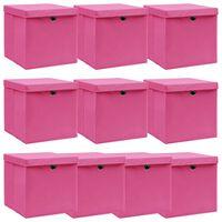 vidaXL Pudełka z pokrywami, 10 szt., różowe, 32x32x32 cm, tkanina