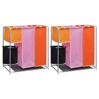 vidaXL 3-komorowe kosze na pranie, 2 szt., z pojemnikiem do prania