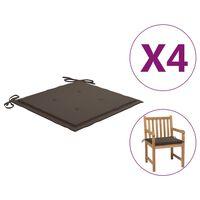 vidaXL Poduszki na krzesła ogrodowe, 4 szt., kolor taupe, 50x50x4 cm