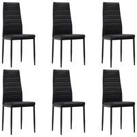 vidaXL Krzesła stołowe, 6 szt., czarne, sztuczna skóra