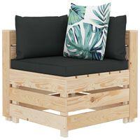 vidaXL Ogrodowa sofa narożna z palet z poduszkami w kwiaty, drewniana