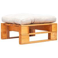 vidaXL Ogrodowy puf z palet, piaskowa poduszka, miodowy brąz, drewno