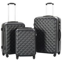 vidaXL Zestaw twardych walizek, 3 szt., czarny, ABS