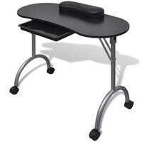 vidaXL Składany stolik do manicure, czarny z kółeczkami