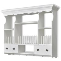 vidaXL Wisząca szafka kuchenna, drewniana, biała