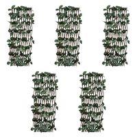 vidaXL Płot kratka, wierzba ze sztucznymi listkami, 5 szt., 180x30 cm