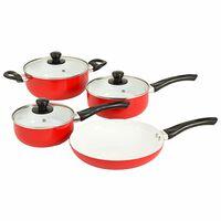 vidaXL 7-częściowy zestaw naczyń kuchennych, czerwony, aluminium