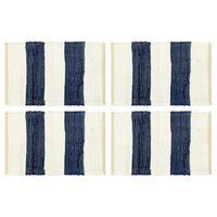 vidaXL Maty na stół, 4 szt, Chindi, w paski, niebiesko-białe, 30x45 cm