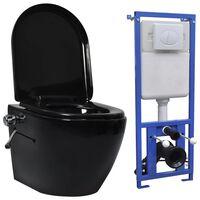 vidaXL Toaleta bezkołnierzowa ze spłuczką podtynkową, ceramika, czarna