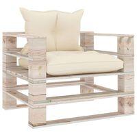 vidaXL Sofa ogrodowa z palet, z kremowymi poduszkami, drewno sosnowe