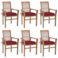 vidaXL Krzesła stołowe z bordowymi poduszkami, 6 szt., drewno tekowe