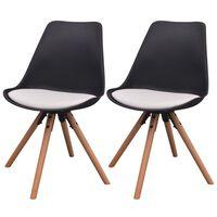 vidaXL Krzesła stołowe, 2 szt., czarno-białe, sztuczna skóra
