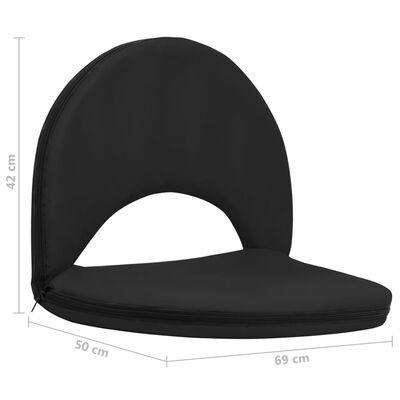 vidaXL Składane krzesła podłogowe, 2 szt., czarne, stal i tkanina