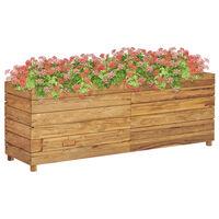 vidaXL Podwyższona donica 150x40x55 cm, drewno tekowe z odzysku i stal