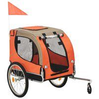 vidaXL Przyczepka rowerowa dla psa, pomarańczowo-brązowa