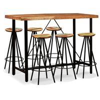 vidaXL Zestaw mebli barowych, drewno akacjowe i odzyskane, 7 części