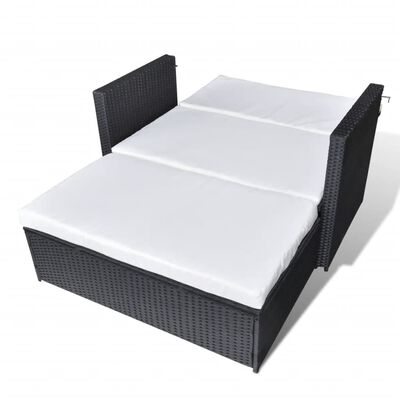 vidaXL 2-cz. zestaw wypoczynkowy do ogrodu, poduszki, rattan PE czarny