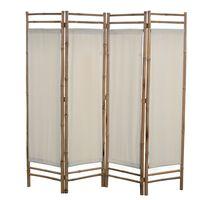 vidaXL 4-panelowy, składany parawan, bambus i płótno, 160 cm