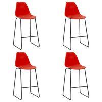 vidaXL Krzesła barowe, 4 szt., czerwone, plastik