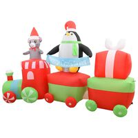 vidaXL Nadmuchiwany pingwin i mysz w pociągu, LED, IP44, 350 cm