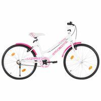 vidaXL Rower dla dzieci, 24 cali, różowo-biały