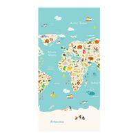 Good Morning Ręcznik plażowy WORLDMAP, 75x150 cm, jasnoniebieski