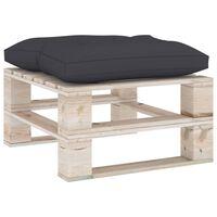 vidaXL Ogrodowy stołek z palet z antracytową poduszką, drewno sosnowe