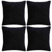 vidaXL Poszewki na poduszki, 4 szt,. welur, 80x80 cm, czarny