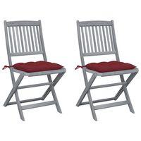 vidaXL Składane krzesła ogrodowe z poduszkami, 2 szt., akacjowe