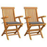 vidaXL Krzesła ogrodowe z szarymi poduszkami, 2 szt., drewno tekowe