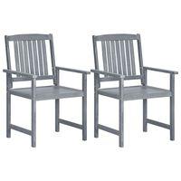 vidaXL Krzesła ogrodowe, 2 szt., szare, lite drewno akacjowe