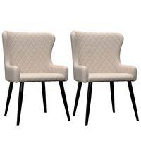 vidaXL Krzesła do jadalni, 2 szt., kremowe, tapicerowane tkaniną