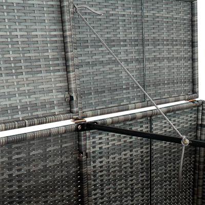 vidaXL Osłona na 2 kosze na śmieci, rattan PE, antracyt, 148x77x111 cm