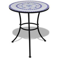 vidaXL Stolik bistro, niebiesko-biały, 60 cm, mozaikowy
