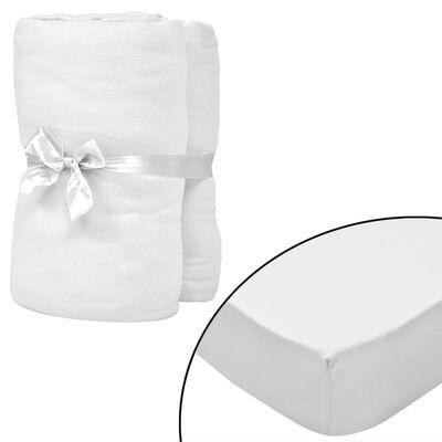 vidaXL Prześcieradła z gumką do łóżeczka, 4 szt., 70 x 140 cm, białe