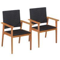 vidaXL Krzesła ogrodowe, 2 szt., polirattan, czarno-brązowe