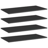 vidaXL Półki na książki, 4 szt., wysoki połysk, czarne, 80x40x1,5 cm