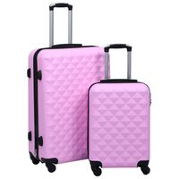 vidaXL Zestaw twardych walizek na kółkach, 2 szt., różowy, ABS