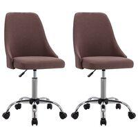 vidaXL Krzesła biurowe na kółkach, 2 szt., kolor taupe, tkanina