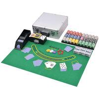 vidaXL Zestaw do gry w pokera i blackjacka, 600 żetonów laserowych, aluminium