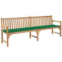 vidaXL Ławka ogrodowa z zieloną poduszką, 240 cm, drewno tekowe