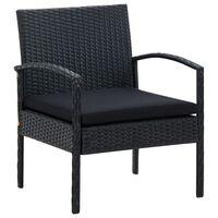 vidaXL Krzesło ogrodowe z poduszką, polirattan, czarne