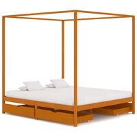 vidaXL Rama łóżka z baldachimem i 4 szufladami, sosna, 180 x 200 cm