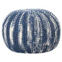 vidaXL Puf, ręcznie dziergany, niebiesko-biały, 50x35 cm, wełna